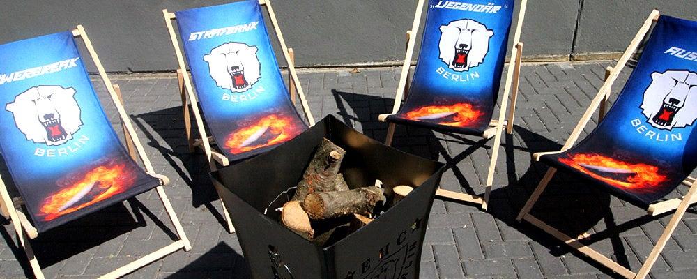 Neu im Eisbären-Fanshop: Liegestühle und Feuerkorb